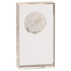 CRY6524 Clear Crystal Rectangle with Globe Etching